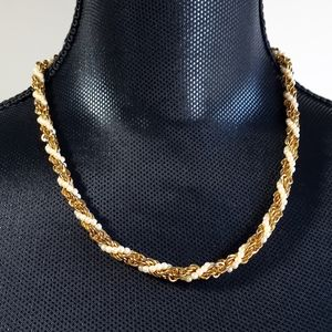 Vintage Twisted Gold-Tone & Pearl Necklace